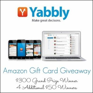 Yabbly $300 & 4 X $50 Amazon Gift Cards Giveaway   This West Coast Mommy