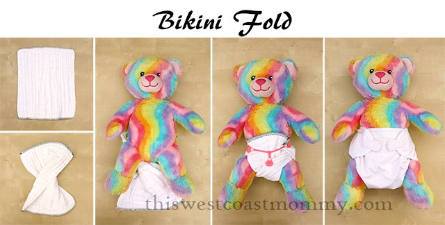 How to make a bikini fold with your prefold cloth diaper.