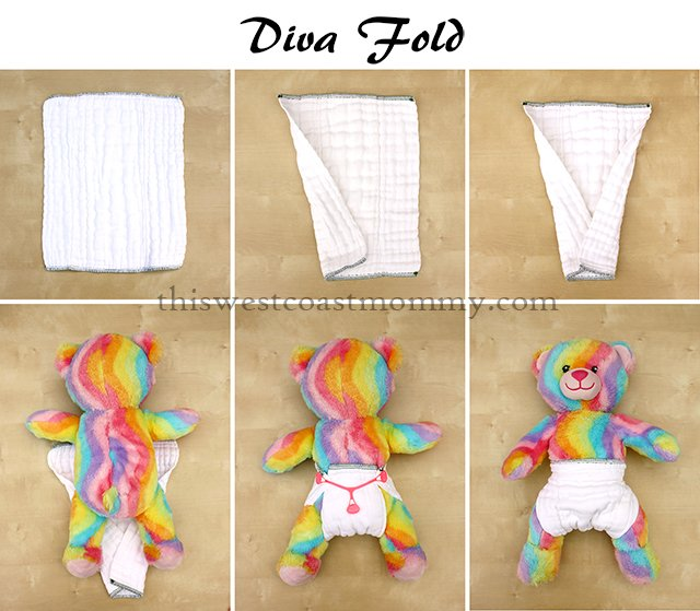 How to make a diva fold with your prefold cloth diaper.