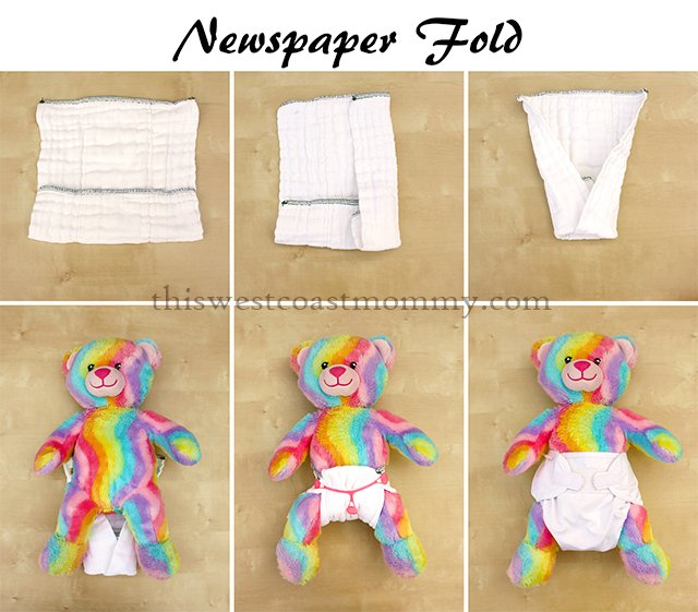 How to make a newspaper fold with your prefold cloth diaper.