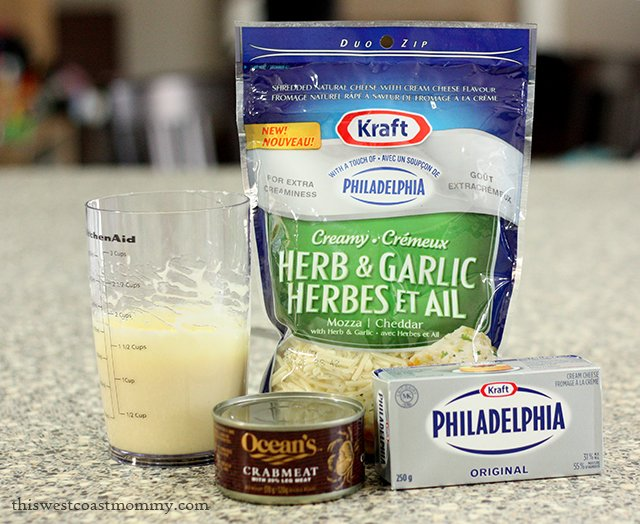 Hot Cheesy Crab Dip made with Kraft Shredded Cheese with a Touch of Philadelphia #MemorableMelts