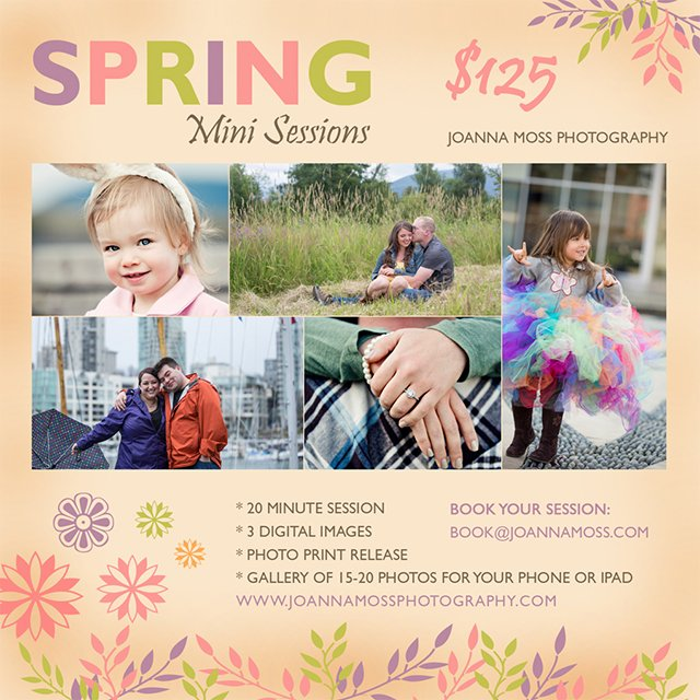 Joanna Moss Photography spring mini sessions now booking for May 10 (Greater Vancouver area)