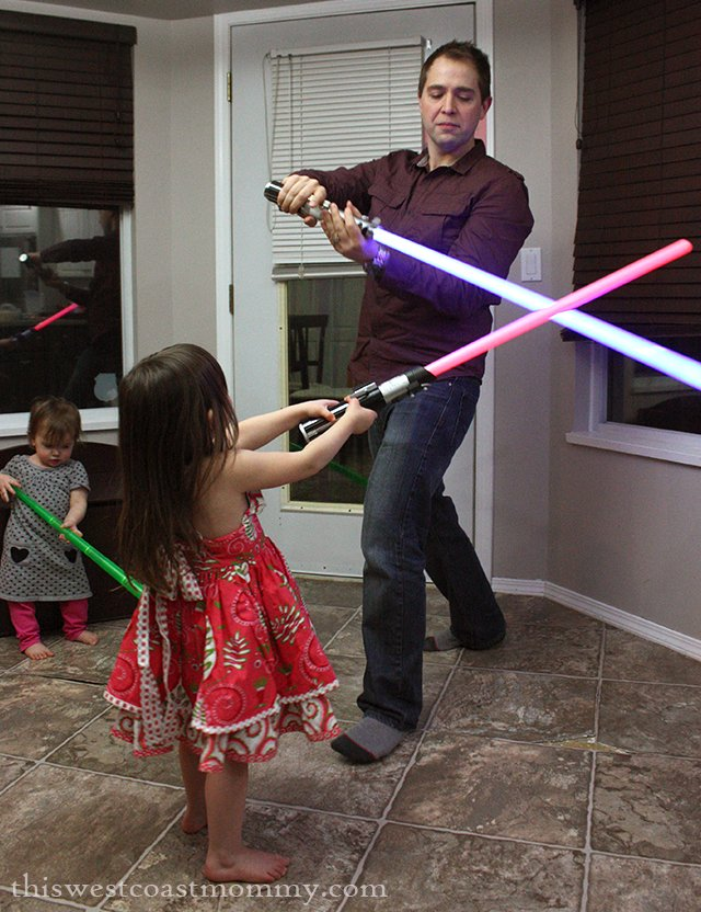 Daddy and Daughter Lightsaber Battle