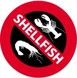 Vector Illustration of four No Shellfish Signs. See my others in this series.