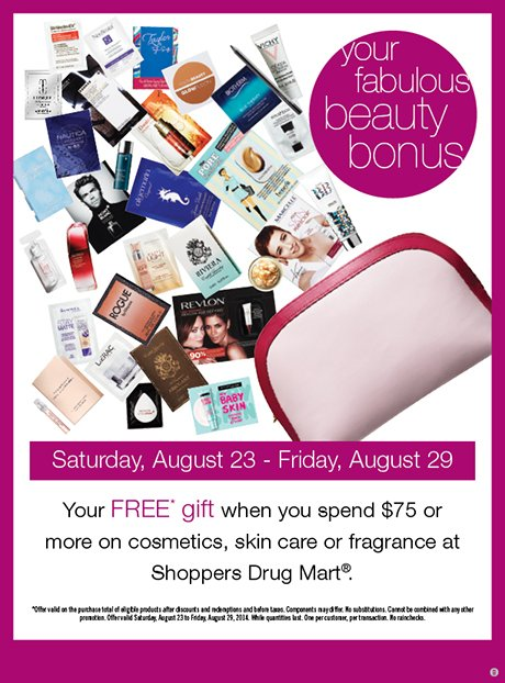 Free gift with $75 minimum cosmetics purchase