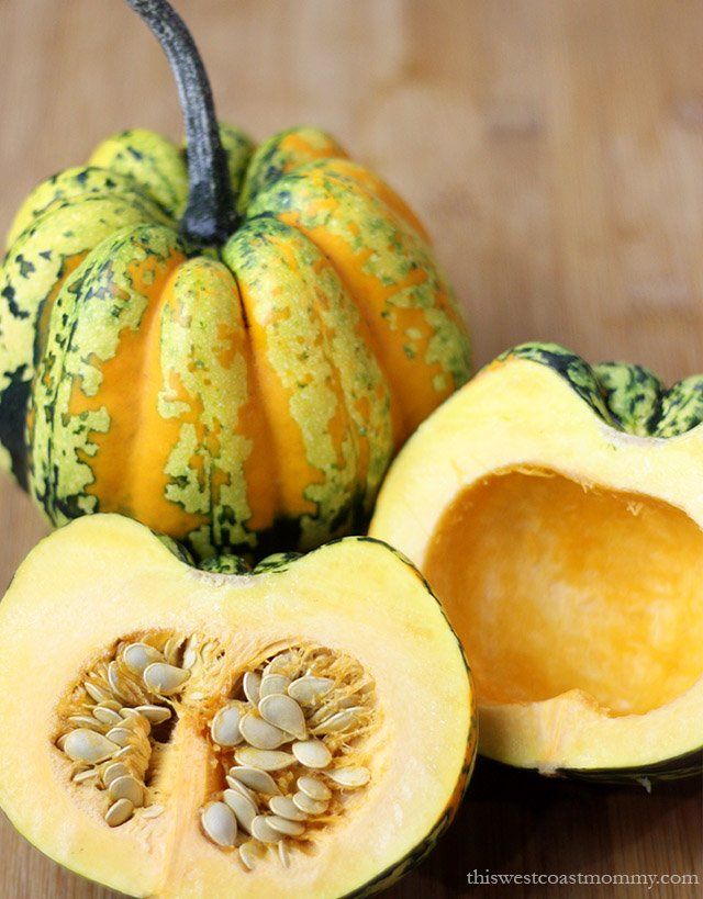 Roasted Maple Walnut Carnival Squash. This delicious fall recipe is paleo, vegetarian, and vegan friendly.