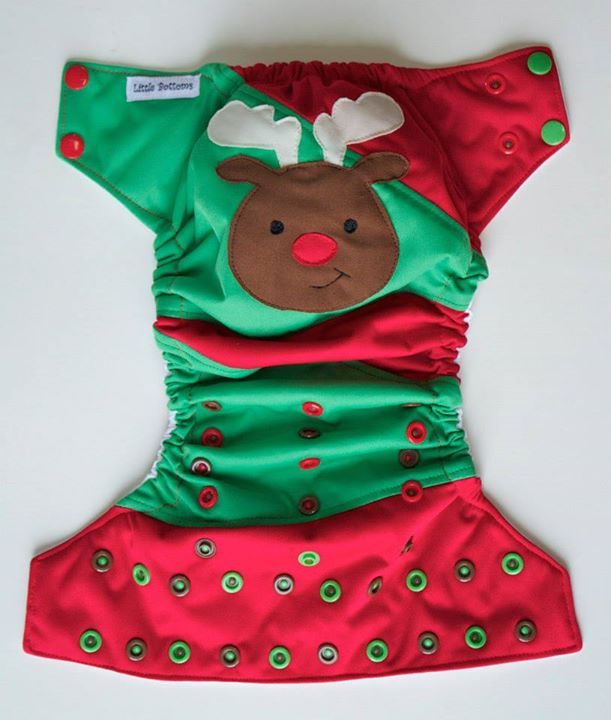 Scrappy Embroidered Reindeer Pocket diaper - Little Bottoms Diapers