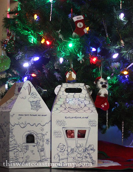 build-a-bear boxes under the tree