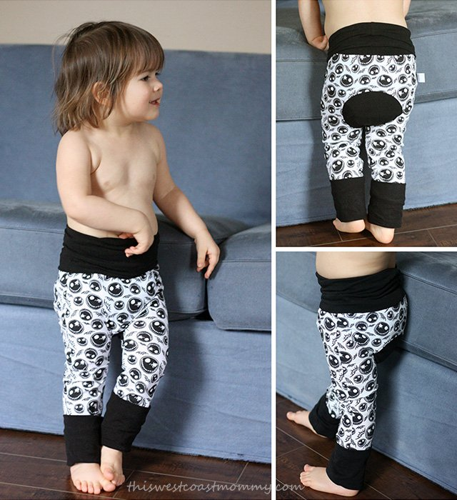 Grow With Me Pants are ideal for cloth diapers. They fit babies and toddlers to 3 years and beyond!