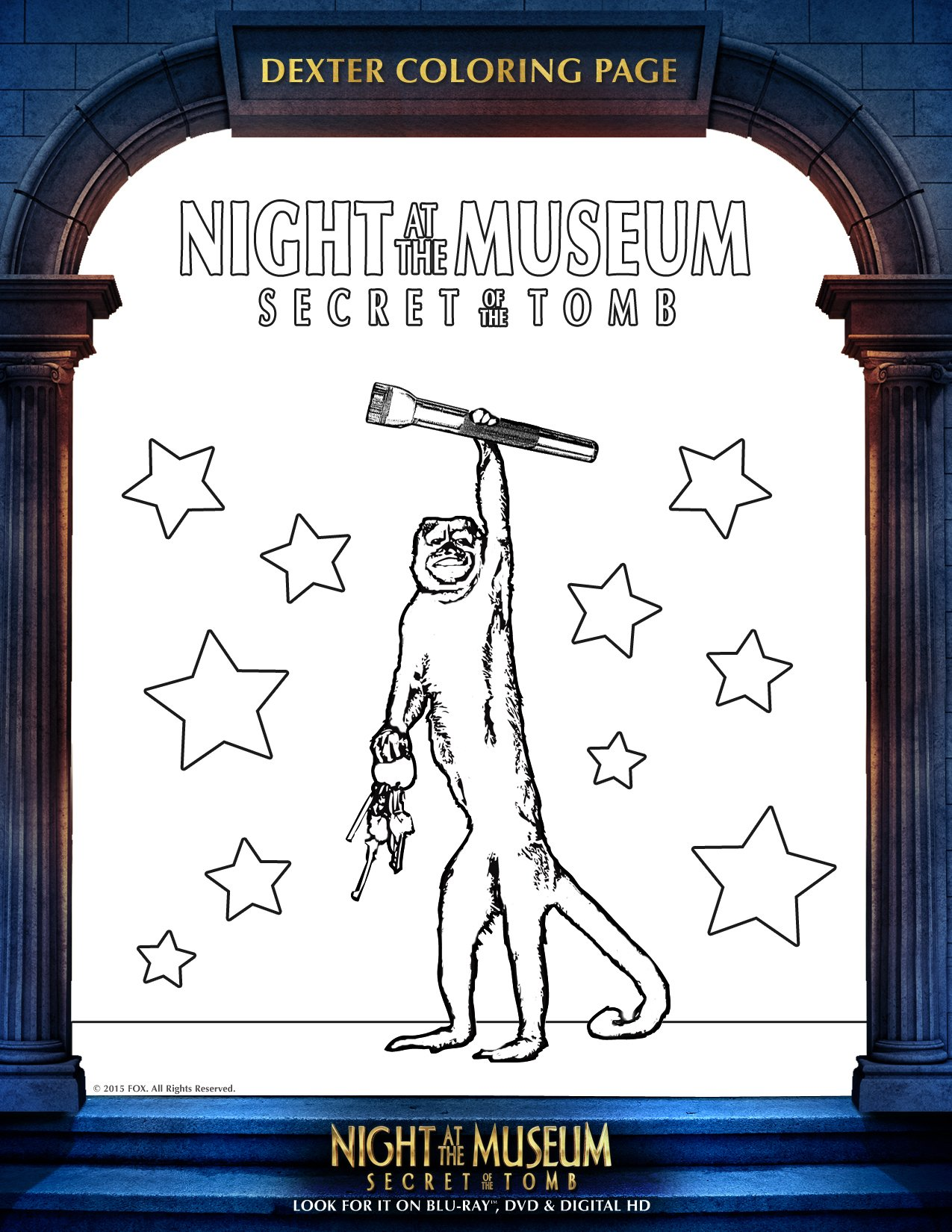 Night at the Museum 3 Colouring Sheet