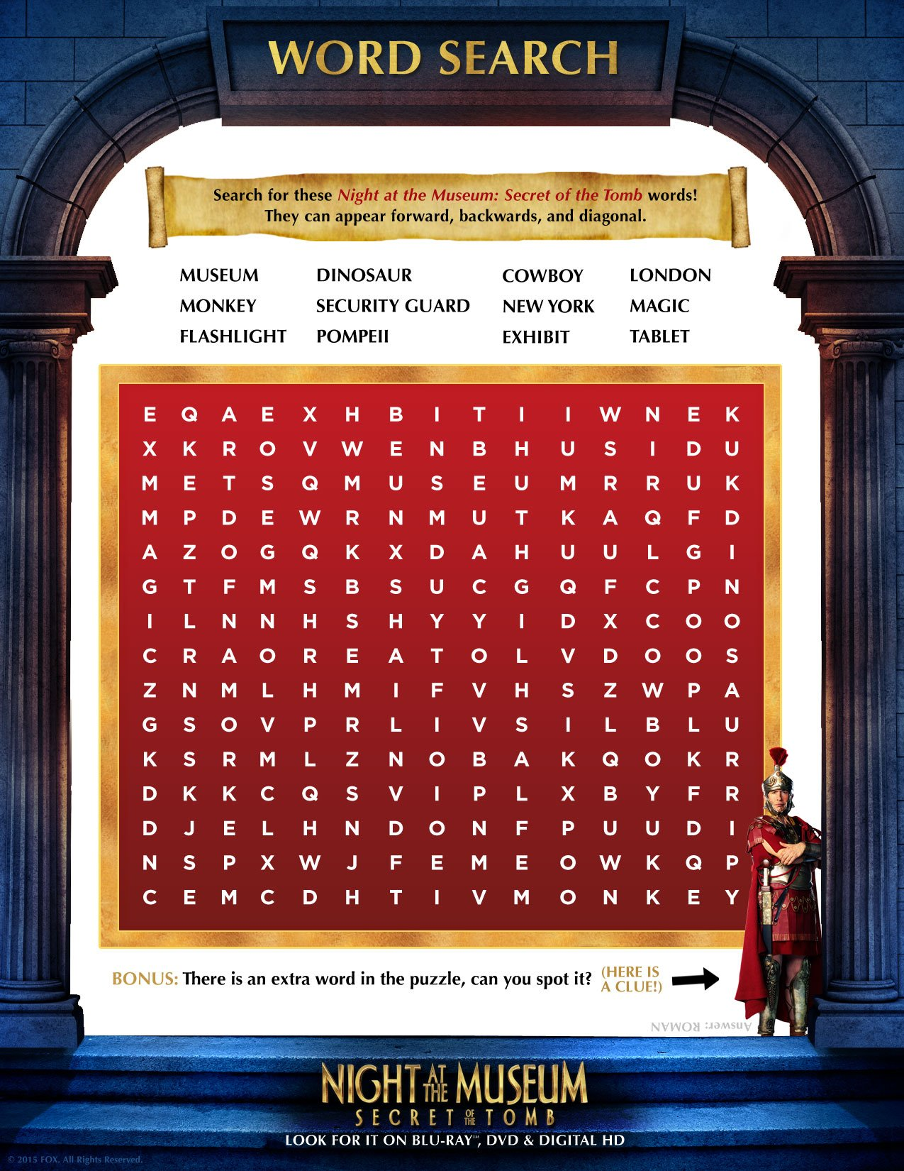 Night at the Museum 3 Word Search