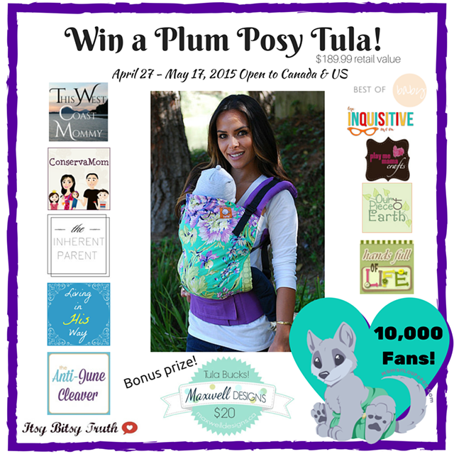 Win a Plum Posy TULA ergonomic baby carrier! (US/CAN, 5/17)