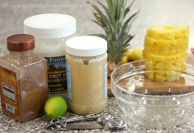 Raw honey, coconut oil, lime juice, and cinnamon make this simple and delicious fruit marinade.