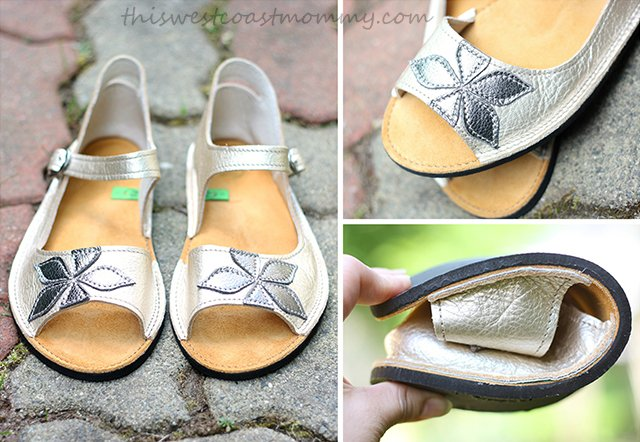 Soft Star Solstice Sandals in shiny platinum and pewter leather.