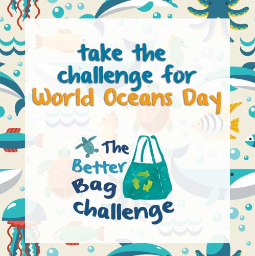 1Take the Better Bag Challenge for World Oceans Day! Commit to not using plastic disposable bags for at least one year.