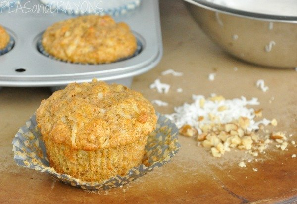 Gluten-free Coconut Carrot Walnut Muffins - Peas and Crayons