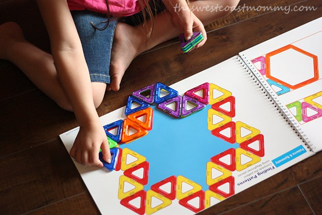 The Magformers math workbook helps teach math and geometry.