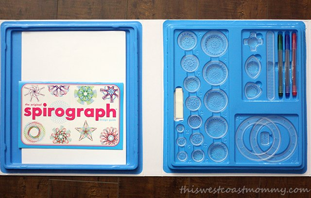 The Spirograph Deluxe Drawing Set comes in a nice carrying case with over 45 parts including 22 drawing gears, three pens, drawing paper, and a Design Guide Book.