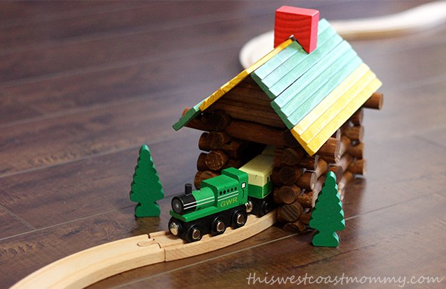 We built a log tunnel for our train set.