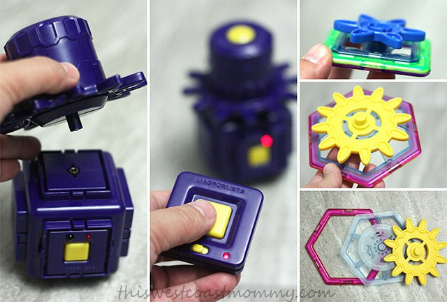 Magformers Magnets in Motion construction set includes a power generator and moving gears.