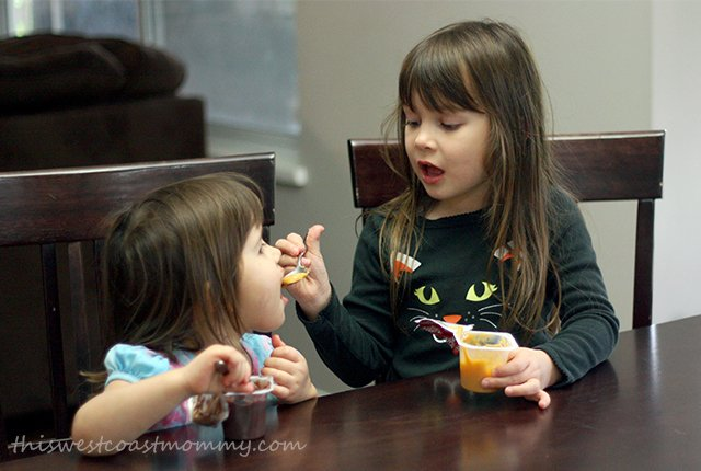 Sisters share their pudding!