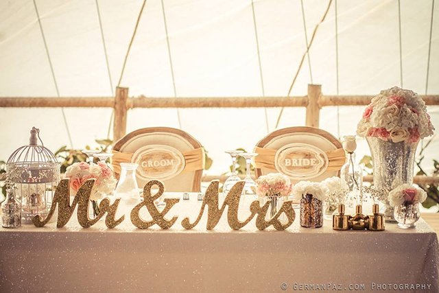Mark the head table with a beautiful handcrafted Mr & Mrs table sign.
