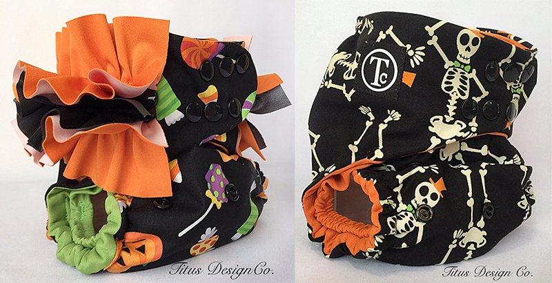 Trick or Treat OS diaper cover & Skeletons OS pocket diaper from Titus Design Company