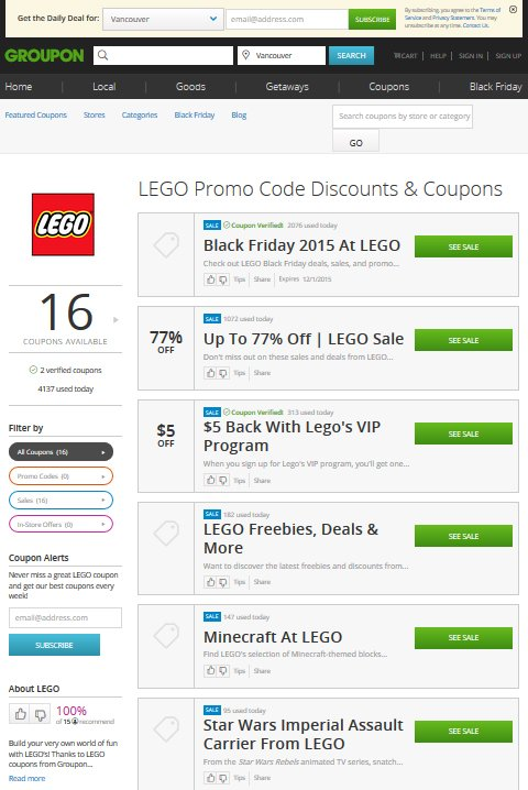 Groupon Coupons has thousands of deals and promo codes. Check before your holiday shopping to save money!