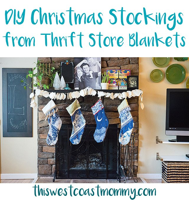 DIY Christmas Stockings from Thrift Store Blankets - Make these beautiful woven Christmas stockings with thrift store blankets, a few extra scraps of fabric, and some inexpensive trim.