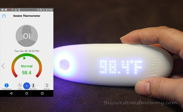 Swaive Thermometer syncs up to your smart phone via Bluetooth.