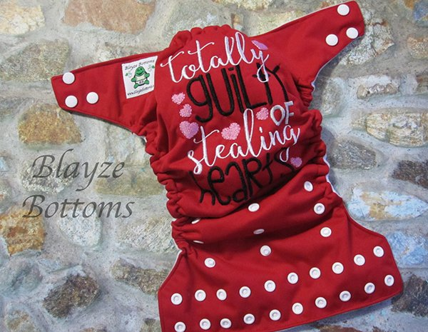 Valentine's Day one size pocket diaper from Blayze Bottoms