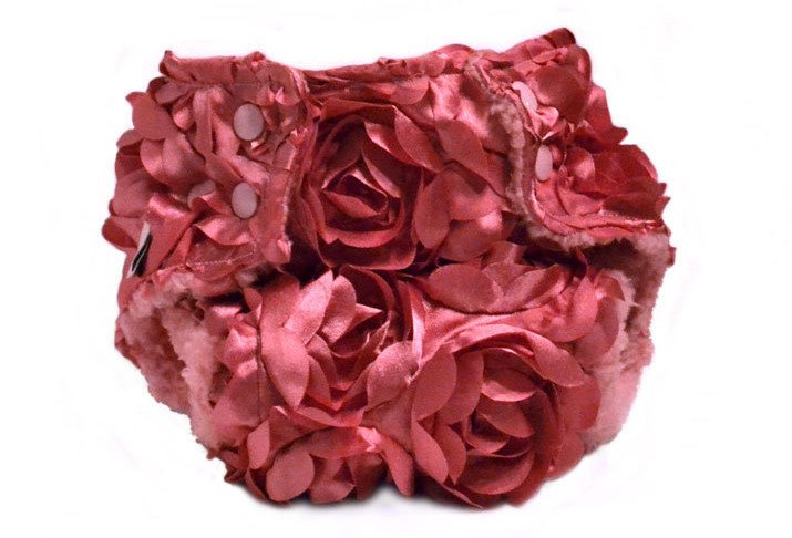 Dusty pink satin rosette diaper cover from Greenchild Creations