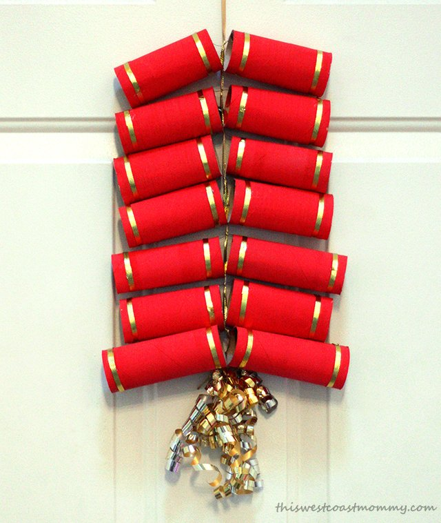 Turn toilet paper tubes into a decorative string of firecrackers for Chinese New Year!