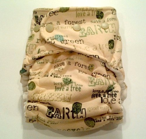 Rake & Button Go Green-Recycle OS Hybrid Fitted Cloth Diaper