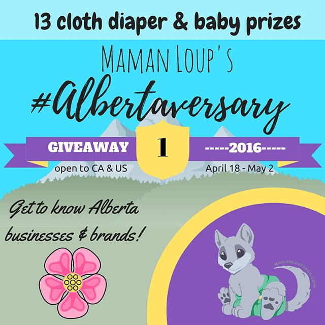 Win 1 of 13 cloth diaper and baby prizes in the #Albertaversary giveaway! (US/CAN, 5/1)