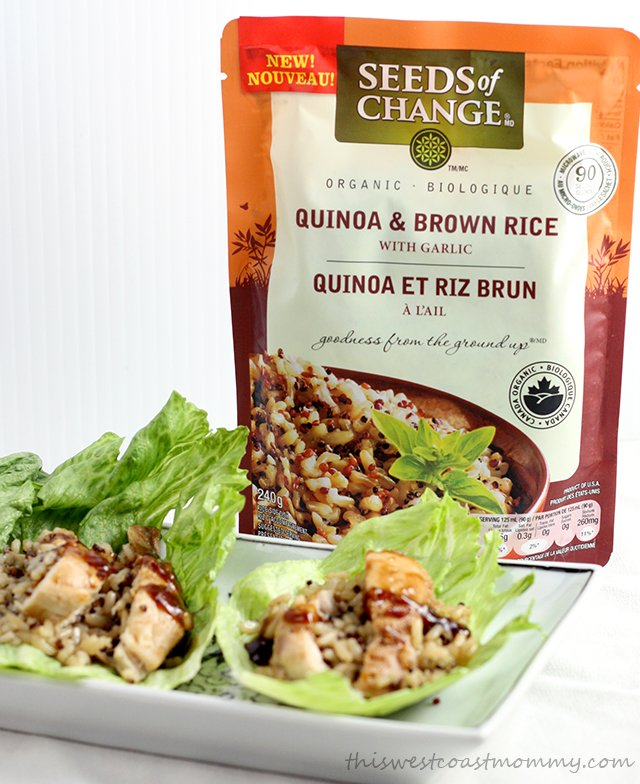 Seeds of Change Quinoa & Brown Rice with Garlic make these lettuce wraps a quick, healthy, and delicious dinner option!