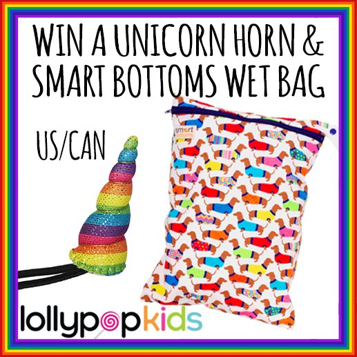 Win a Smart Bottoms wet bag and unicorn horn from Lollypop Kids (US/CAN, 12/3)