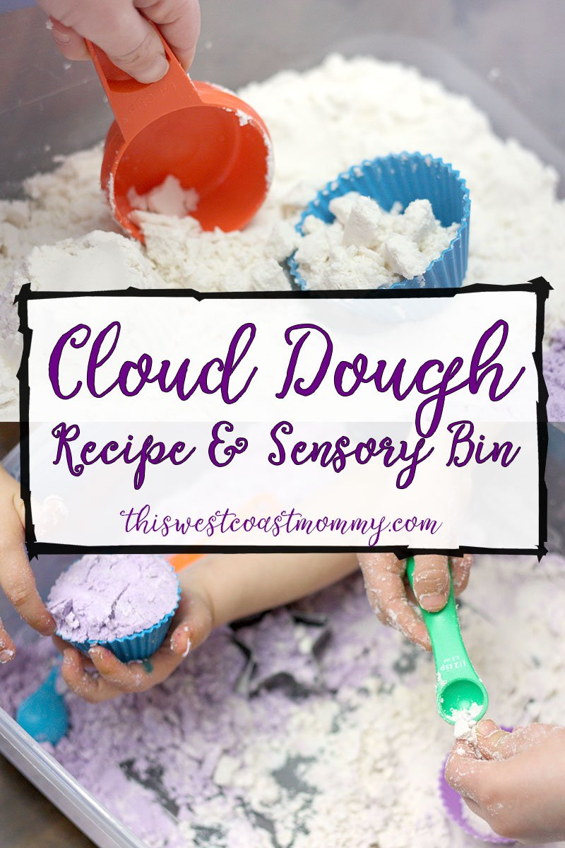 Cloud dough, also called moon sand, has the unique property of being moldable and crumbly at the same time. It's a sensory treat for kids of all ages - fun to scoop, mold, build with, or just squish between your fingers!